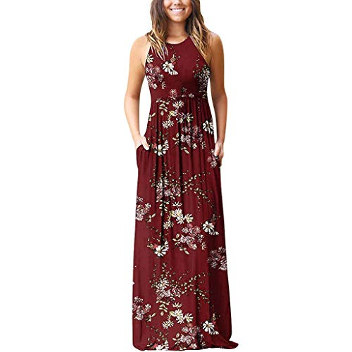 CCOOfhhc Women Sleeveless Maxi Dress Casual Long Dresses Beach Dresses Bohemian Printed Dresses with Pocket Red