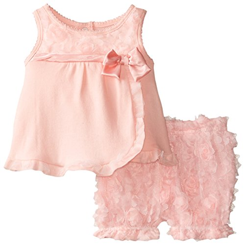 Nannette Baby-Girls Newborn Peach Interlock Top with Novelty Satin Ribbon Rosette and Bow Detail Matching Diaper Cover, Orange, 0-3 Months