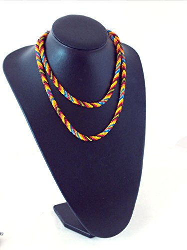 Long beaded necklace,bead crochet rope, patchwork print necklace, native fashion lariat