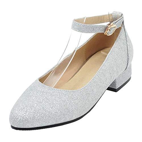 Mujer 1 Zanpa Zapatos Planos plata Comodo gxw6OqOA
