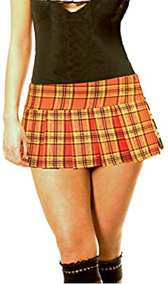 Orange Schoolgirl Tartan Plaid Pleated Micro Mini Skirt Orange