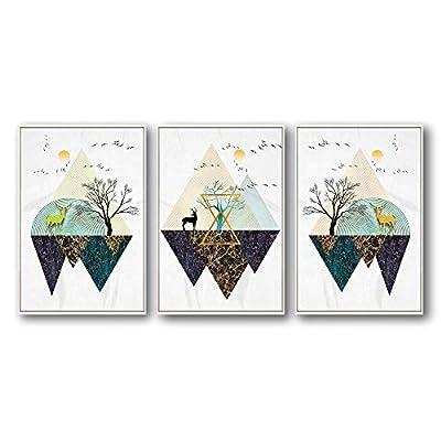 Abstract Geometric Deer World - 3 Panel Framed Canvas
