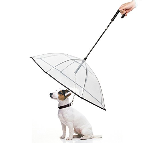 Yesurprise Dog Umbrella Pet Umbrella with Leash Assembly Clear Transparent Easy View Folding Puppy Umbrella for Small Dogs Puppies Protect from Rain Snow Wet Weather Protective