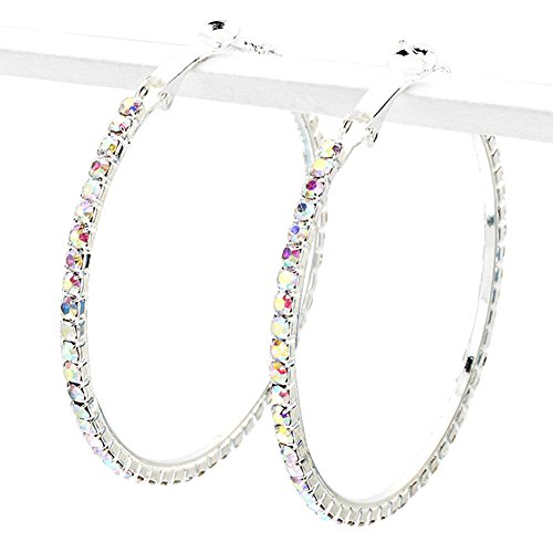 - Large Aurora Borealis Iridescent Rhinestone Narrow Hoop Earrings, 2 Inch Diameter, Prong Set, Silver-Tone