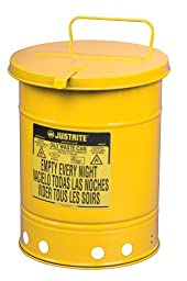 Justrite 09311 Galvanized Steel Oily Waste Safety Can with Hand Operated Cover, 10 Gallon Capacity, Yellow
