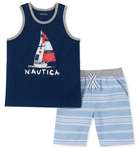 (Nautica Sets (KHQ) Baby Boys 2 Pieces Tank Top Shorts Set, Navy/Blue 24M)
