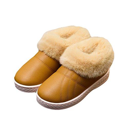 Cybling Womens Winter Warm Slipper Zachte Indoor Outdoor Antislip Schoenen Geel