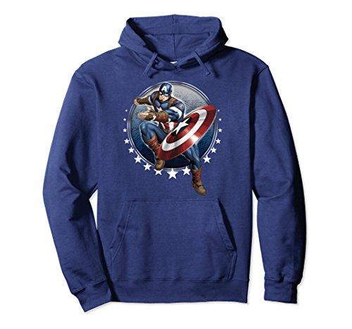 Unisex Marvel Captain America Shield Throw Stars Graphic Hoodie Large Navy