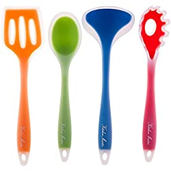 Silicone Nonstick Kitchen Cooking Utensil Spatula Tool Set, Colorful Gadgets, Set Includes; Slotted Turner, Pasta Fork, Spoon Spatula, Ladle