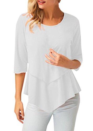 Collo Casual Donne Maglietta Irregolare Sottile Camicie Monika Mode Tops Bluse T Bianca Rotondo Maniche Tinta 3 shirt 4 Unita Tumblr xqX1nFng