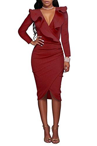 Dress Ruffle 123 V with Red Asymmetrical Sleeves Neck SYGoodBUY Long Sexy Dress Women's Elegant Bodycon 0TXaq