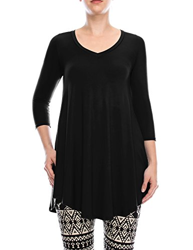 A.F.Y Women's V-Neck Tunic Top With Hidden Side Pockets