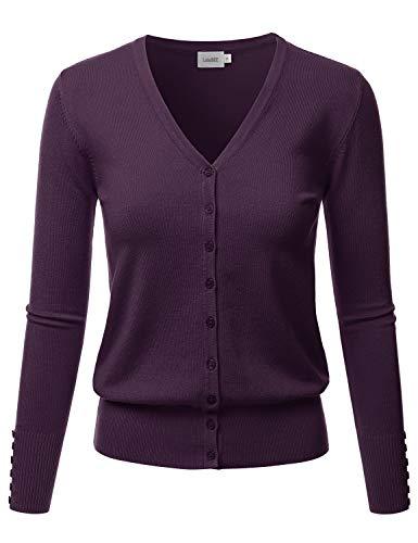 LALABEE Women's V-Neck Long Sleeve Button Down Sweater Cardigan Soft Knit-Darkpurple-M (Nylon V-neck Cardigan)