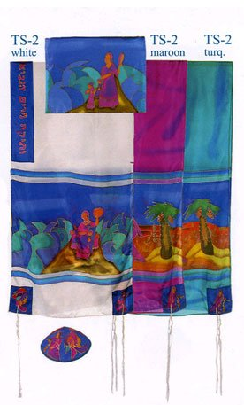 Yair Emanuel Prayer Shawl - Miriam and Debora Hand painted Silk Tallit Set - Turquoise - Size: 21'' x 77''