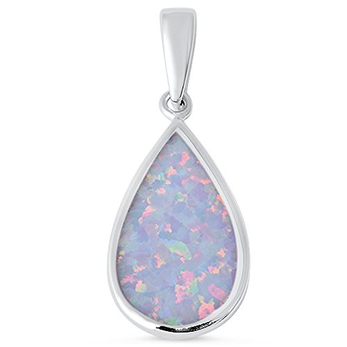 - Tear Drop Lab Created White Opal .925 Sterling Silver Pendant