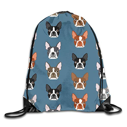 (PJHDCK Boston Terriers Blue Faces Cute Dogs Gym Sport Bag Drawstring Bag Backpack Draw Cord Bag for Men Women Gym,Sport,Yoga,Dance,Travel)