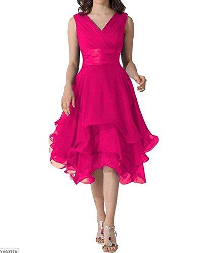 ausschnitt Partykleider Brautjungfernkleider Bainjinbai V Fuchsia Einfach Abendkleider Line A Chiffon gvIqa