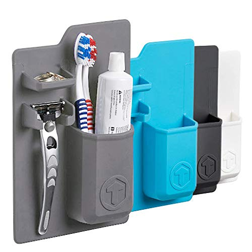 Tooletries - The Harvey (Grey), Silicone Waterproof Toothbrush Holder/razor Holder For Small Toiletry Items, Silicone Toiletry Organizer, Shower And Bathroom. Features Silicone Grip Technology ()