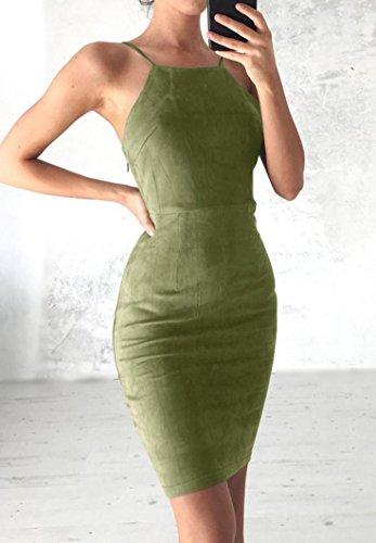 Kingko® Femmes De La Mode Dames Dos Robes Robe De Velours Moulante Moulantes Hiver Bodycon Partie Glissement Taille Robe L, Vert Xl