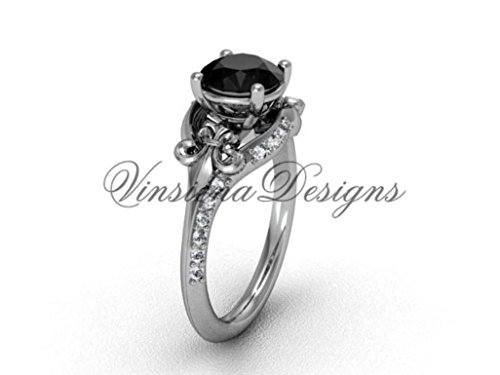 Platinum diamond Fleur de Lis, eternity, Black Diamond engagement ring VD208125
