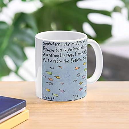 Nueva Tasman Australia Zelanda Aussie Kiwi FUSH Sea Fish Feesh Mejor Taza de café de cerámica de 11 oz Personalizar