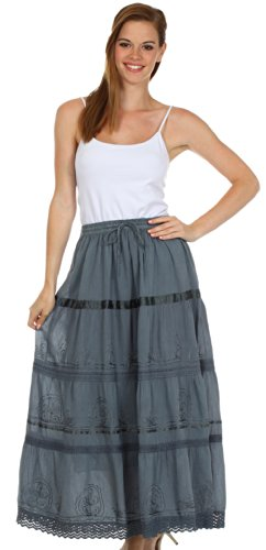 AA554 - Solid Embroidered Gypsy / Bohemian Full / Maxi / Long Cotton Skirt - Gray/One Size Photo #3