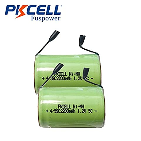 2pc Ni-MH 4/5 SC Sub C 1.2V 2200mAh Rechargeable Battery W/Tab For Power Tool - 2,200 Mah Nimh Battery