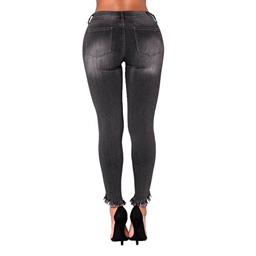 De Jeans MYX Black Delgados De Las Extremo De Elásticos del Dril Estiramiento del XXXXL Elevación Algodón del Mujeres rFr5w1qd