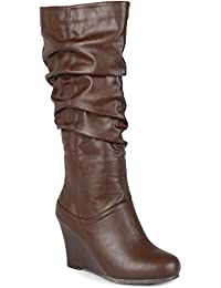 Womens Regular Sized and Wide-Calf Slouch Knee-High Wedge Dress Boot