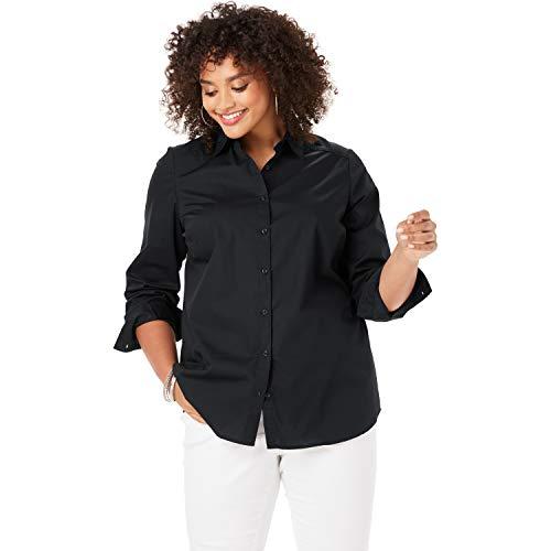 Roamans Women's Plus Size Three-Quarter Sleeve Kate Shirt - Black, 18 W