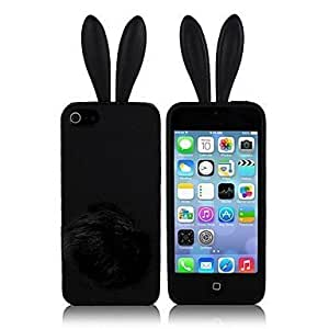 ZLXUSA (TM) Rabbit With Plush Tail Silicone Back Case for iPhone 4/4S Black hjbrhga1544