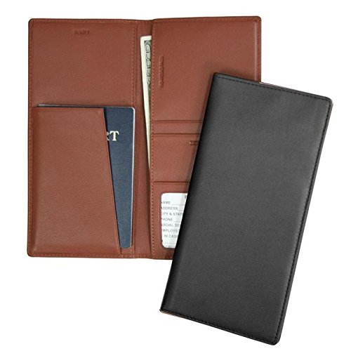 Royce Leather RFID Blocking Passport Ticket Organizer in Leather, Tan ()