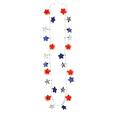 All -American Fourth of July Patriotic Stars Light-Up Necklace Accessory, Plastic, 32""