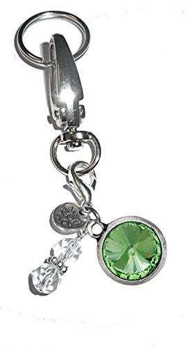 Birthstone Double Charm - Birthstone Charm Key Chain Ring, Women's Purse or Necklace Charm, Comes in a Gift Box! (August)