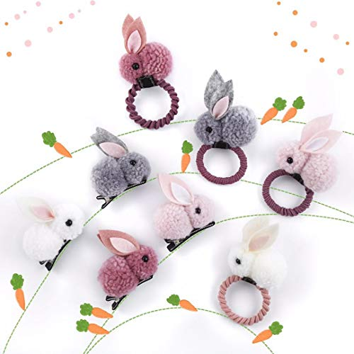Beyond280 Cute Elastic Hair Ties and Hair Clips for Toddlers Teen Girls and Young Women Adorable Rabbit Bunny Hair Accessories for School and Work White Pink Grey Red Pack of 8