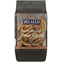Delallo Pasta de Arroz Integral Libre de Gluten Tipo Penne Rigate, 340 g