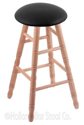 Stool Oak Natural Swivel Pub - Oak Counter Stool in Natural Finish with Black Vinyl Seat