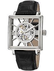 Stuhrling Original Mens 295.33152 Classic Winchester Square Automatic Skeleton Silver Tone Watch