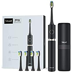 Fairywill Sonic Whitening Electric Toothbrush - ADA Accepted Travel Rechargeable Toohthbrush for Adults, 62,000 VPC Turbo Clean Model P11 Plus in Black