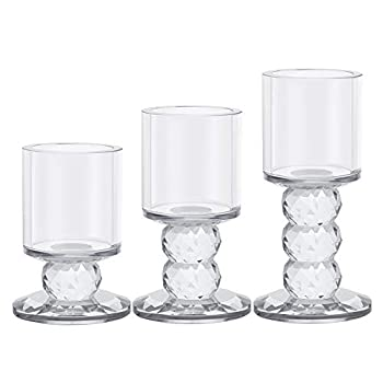 "Crystal Candle Holder Set of 3 Crystal Candlestick 3.3""/4.2""/5"" Height Tealight Pillar Candle Holder Set Centerpieces for Wedding Parties Home Decor Ceremony and Anniversary"