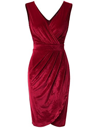 JayJay Women Faux Wrap Vintage Velvet Sleeveless Party Midi Dress,ROYALRED,S Silk Vintage Suit