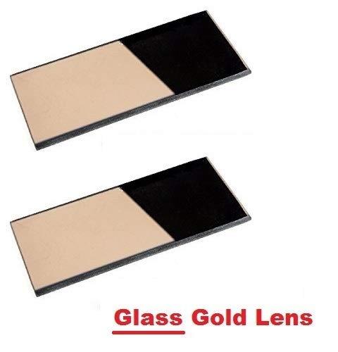 """2 EACH Shade 10 Glass GOLD 2"""" x 4.25"""" Welding Hood Lens Helmet Filter 2 x 4-1/4 Replacement"""