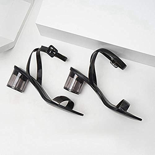 Adjustable Ankle Chunky Toe High Lucite Strap Slides JULY Heel Women's Strappy Block Clear Sandals Black Buckle T Open 17gxp