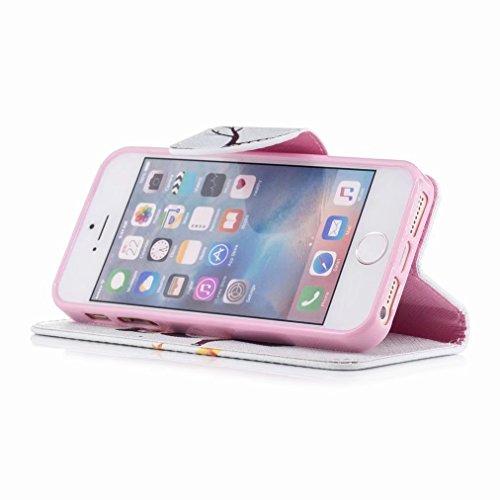 Yiizy Apple IPhone 5 / IPhone 5s / IPhone SE Cover Custodia, Gufo Design Silicone Custodia Flip Cover Portafoglio PU Pelle Cuoio Copertura Case Slot Schede Cavalletto Stile Libro Bumper Protettivo Bor