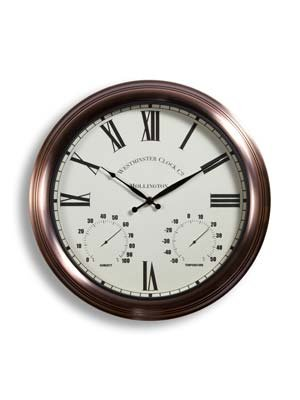 Wall Hanging White & Copper Outdoor Yard Garden Clock - 14.6''