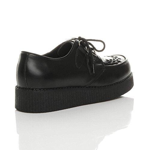 Hommes chaussures talon compensées lacets plateforme gothiques punk creepers Mat Noir 7JJmIHA
