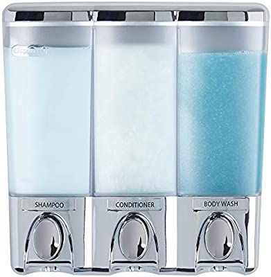 Clear Choice Dispenser 3 Compartments Shampoo Conditioner Soap