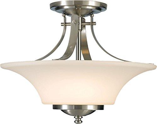 Feiss SF241BS Barrington Glass Semi Flush Ceiling Lighting, Satin Nickel, 2-Light (15