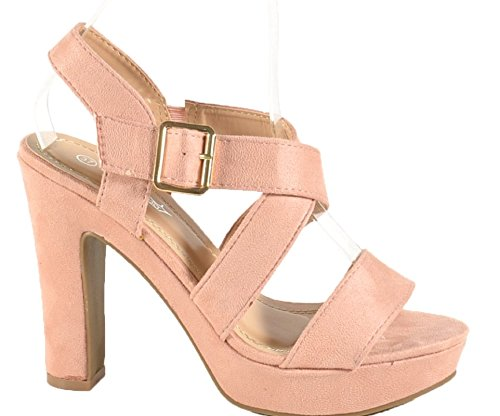 King Of Shoes Damen Riemchen Abend Sandaletten High Heels Pumps Slingbacks Velours Peep Toes Party Schuhe Bequem BJ1 Pink