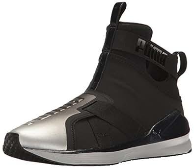 PUMA Women's Fierce Strap Metallic WN's Cross-Trainer Shoe, Black Silver, 5.5 M US